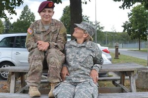 Janet Godwin, right, and her daughter Tatiana Zolman are both U.S. Army sergeants stationed in Grafenwoehr, Germany. They are originally from Columbia and only lived one year in the U.S before deciding to join the military in early 2009. They enlisted one week apart. Photo by Jackie Pennoyer,, USAG Bavaria Public Affairs.