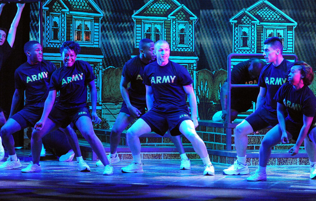 Kentucky Army National Guard 1st Lt. William Bland of Louisville, Ky., performs during the 2015 U.S. Army Soldier Show's opening weekend at the Fort Sam Houston Theatre in San Antonio. (U.S. Army photo by Tim Hipps, IMCOM Public Affairs)