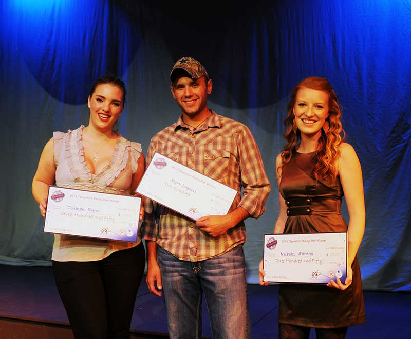 From left, Isabelle Robin (1st Place), Staff Sgt. Kurt Legnon (3rd place) and Nicole Munden (2nd place).