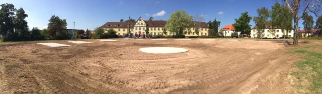 Initial construction of Overwatch Park. Once finished, the vehicles will be positioned in a downward sloping spiral at the end of Memorial Park on Grafenwoehr's Tower Barracks. First Platoon of the 902nd Engineer Company — who fall under 15th Engineer Battalion — constructed ten concrete slabs where nine Army vehicles and one central cannon will soon be displayed. Photo by 2nd Lt Harrison E. Heath, 15th Engineer Battalion.