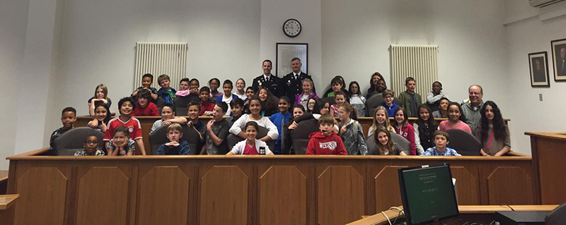 Fifth-grade students from Grafenwoehr Elementary School traveled to Vilseck Rose Barracks to conduct a mock trial, called People v. Woody.