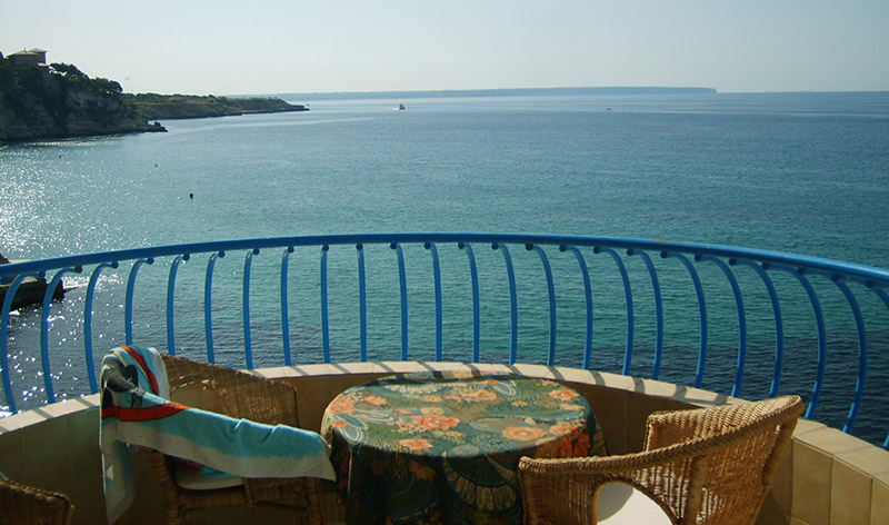 View from the Pelicano, an affordable lodge situated along Cala Major on the Spanish island of Mallorca.