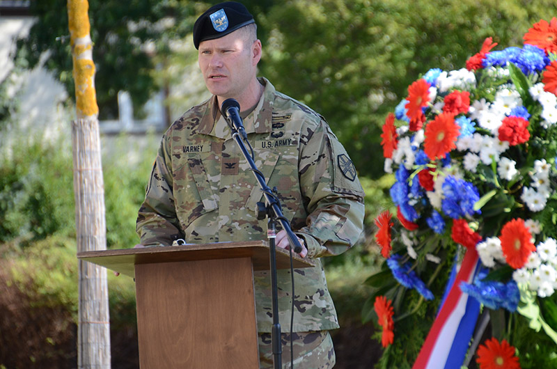 The USAG Bavaria Garrison Commander, Col. Lance Varney, delivered remarks at a wreath laying ceremony near the 172nd Infantry Brigade Memorial on Tower Barracks.
