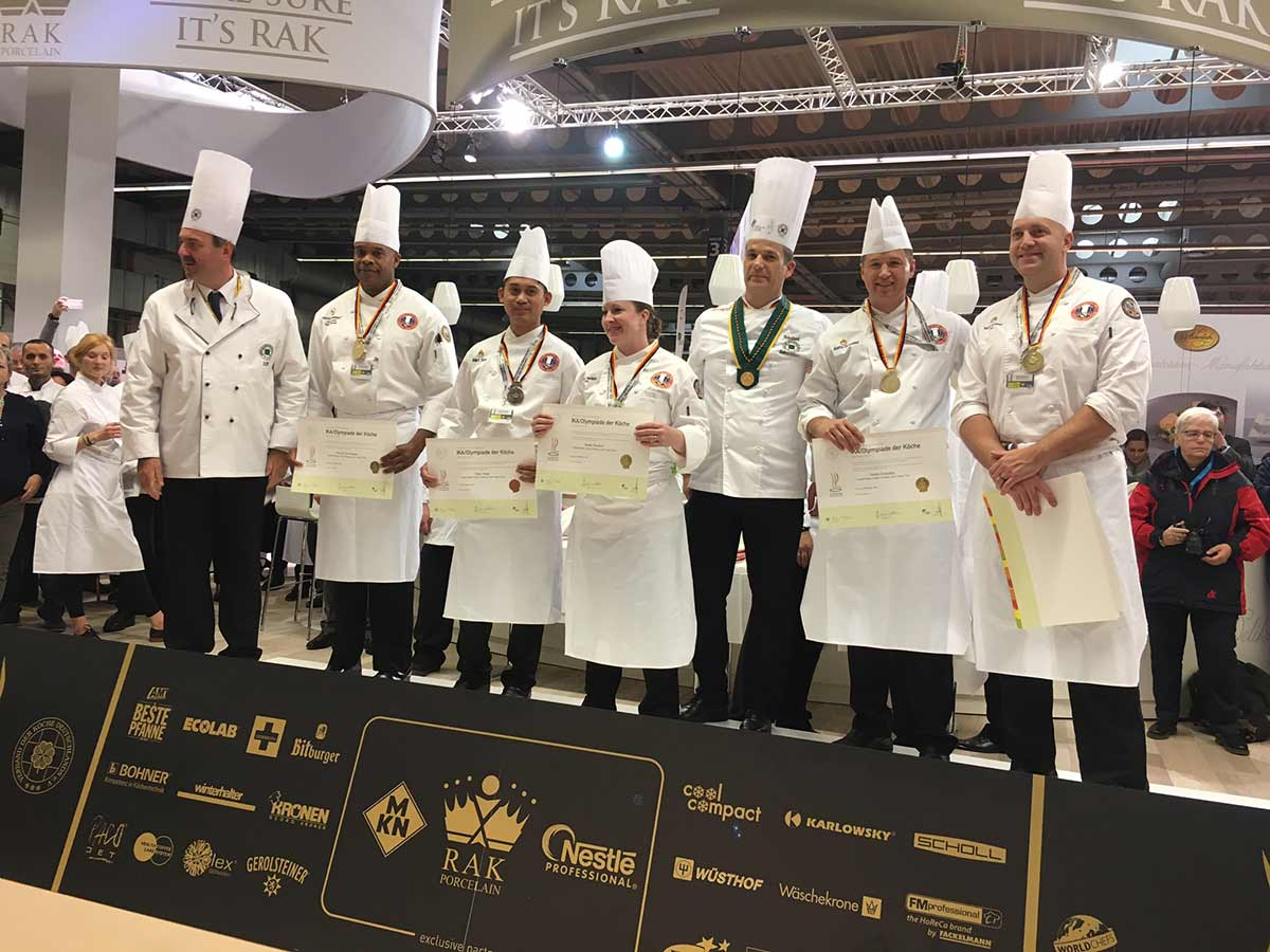 The U.S. Army Culinary Arts team (USACAT) started successfully into the 2016 Cooking Olympics, winning five medals in the Regional Cold Food Table category: Three gold medals in the culinary arts program, and one gold and one bronze medal in the pastry arts program.