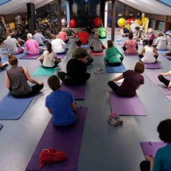 Yoga Class at the Mueller Fitness Center in Garmish, Germany.