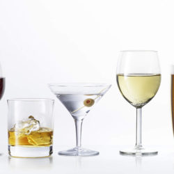Assorted Alcoholic Beverage Drinks On White Background, red wine, white wine, champagne, whiskey, beer, cider